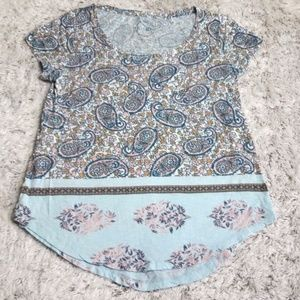 Lucky Brand Small Top Shirt Paisley Flowers